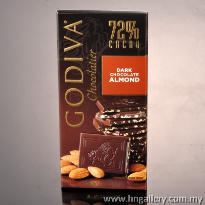 Godiva Dark Chocolate 72% Almond Tablet