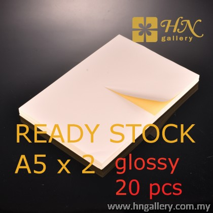 Ready Stock - Pre Cut Matte/Glossy A4 Sticker Paper Inkjet / Laser Printing - A5 Size 105mm x 148.5mm x 2's